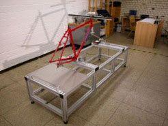 Laservermessung des Fahrradrahmens